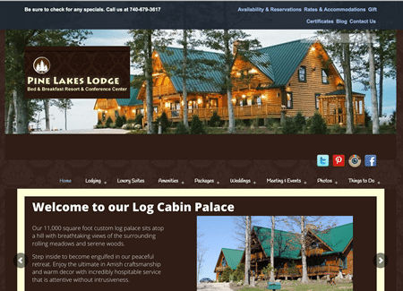 Pine Lakes Lodge Bed and Breakfast - current website is an older design